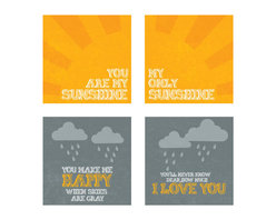 """Nursery Code - 'You Are My Sunshine' Prints, Set of 4 - This listing is for set of four prints mounted professionally on 1"""" THICK STANDOUT."""