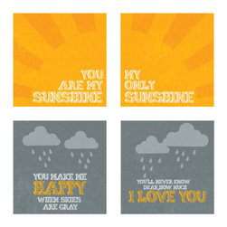 """Nursery Code - Set of 4 prints mounted on Standouts - Ready-to-hang -You are my sunshine design - This listing is for set of four prints mounted professionally on 1"""" THICK STANDOUT."""