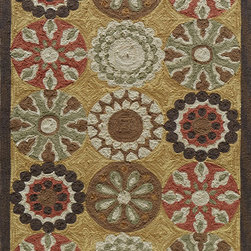 Momeni - Momeni Summit Yellow Gold Flowers Transitional 8' x 10' Rug by RugLots - Inspired by its surroundings, Summit is a casual collection of hand-hooked rugs in bold floral and ethnic patterns. Made of 100% polyester.