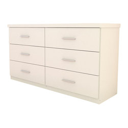 Sonax - Sonax Willow 6 Drawer Dresser in Frost White - Sonax - Dressers - W011LWB - Bring your bedroom the storage options you need with the W-011-LWB Willow 6 Drawer Dresser in Frost White. 6 drawers and a stylish thick profile design give you more space and an extra touch of style. Our fresh frost white finish shines a light in any room, while drawers slide easily on whisper quiet, ball bearing rollers. Specially designed to be easy to assemble, this dresser is proudly made in North America.