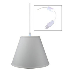 "Home Concept - 1-Light Plug-In Swag Pendant Lamp Light Oatmeal 8x16x12 - Plug In Swag Pendant - The perfect addition to any dark corner, or above a table that the builder didn't provide electrical wiring. You will love your swag pendant light because it can move anywhere and put the light exactly where you need it. Wondering about size?  Simply add the length and width of your space and that will give you the maximum bottom width of your pendant. If your swag is not centered in the room, you should likely use smaller measurements to define the ""space"" you are lighting up.      Why Upgrade to Home Concept Signature Pendants?       Top Quality Premium Lampshades means your room will glow with a rich, warm luster your guests will notice.  Plus we include upgrades like a premium inner lining and dual bulb clips so your new shade will last for years.      Heavy brass and steel frames mean you can feel the difference when you lift it."