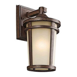 Kichler Lighting 49071BSTFL Atwood Brown Stone Outdoor Wall Sconce - Kichler Lighting 49071BSTFL Atwood Brown Stone Outdoor Wall Sconce*Number of Bulbs: 1*Bulb Type: 13W GU24*Collection: Atwood*Glass/Shade: Satin Etched*Weight: 3.6