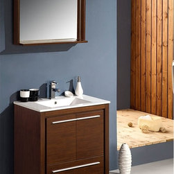 "Fresca - Fresca Allier 30"" Modern Bathroom Vanity - Wenge - At a width of 30"" and depth of 18.5"" and a height of 33.5"", the Fresca Allier bathroom vanity is one of the most compact free standing vanities available on the site. Accented with a 29.5"" wide x 25.5"" high mirror that includes a 6"" deep shelf, this bathroom vanity can add both convenience and style to any modernly designed restroom. The optional side cabinet, sold separately, can further enhance your storage options.The Fresca Allier bathroom vanity comes complete with a matching ceramic countertop sink, p-trap and pop-up drain, along with the main cabinet, mirror, and standard hardware needed for installation. This bathroom vanity also comes with your choice of faucet for optimal personalization.DecorPlanet is proud to offer Fresca Bathroom products. Fresca is a leading manufacturer of high-quality vanities, accessories, toilets, faucets, and everything else to give you the freshest bathroom in the neighborhood. Fresca is known for carrying the latest and most popular styles in modern and contemporary bathroom design that are made with high quality materials and superior workmanship."