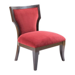 Madison Park - Madison Park Montego Hourglass Exposed Wood Armless Chair - Bring life to any room in your home with this hourglass armless chair that features a soft velvet upholstery and contrast espresso hard wood frame. Some assembly required. Wood Finish: Merlot Material: Hand Carved Birch Hardwood Frame Fabrication: 100% Polyester Filling: High Density Foam