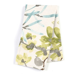 Watercolor Floral Custom Napkins, Aqua/Gray, Set of 4 - Our Custom Napkins are sure to round out the perfect table setting'whether you're looking to liven up the kitchen or wow your next dinner party. We love it in this gray, aqua & spring green watercolor floral. your room will be awash with color & class.
