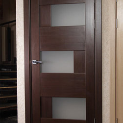 Modern Interior Doors - Solid wood interior door with frosted glass. Contemporary style. $425 includes door slab, door frame, and casings. Handles and hinges are separate.