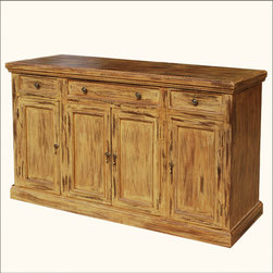 Rustic Farmhouse Hardwood 4-Door 3-Drawer Sideboard Cabinet Buffet - Enjoy classic storage for a traditional home with our Rustic Farmhouse Hardwood 4-Door 3-Drawer Sideboard Cabinet Buffet.