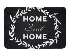 "KESS InHouse - KESS Original ""Home Sweet Home"" Black White Memory Foam Bath Mat (24"" x 36"") - These super absorbent bath mats will add comfort and style to your bathroom. These memory foam mats will feel like you are in a spa every time you step out of the shower. Available in two sizes, 17"" x 24"" and 24"" x 36"", with a .5"" thickness and non skid backing, these will fit every style of bathroom. Add comfort like never before in front of your vanity, sink, bathtub, shower or even laundry room. Machine wash cold, gentle cycle, tumble dry low or lay flat to dry. Printed on single side."