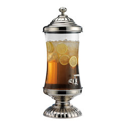 "Godinger Silver - Chapel Hill Crystal and Nickel Plated Beverage Server - This impressive crystal and nickel plated drink dispenser beautifully presents any cold beverage. Easy to use and easy to store, you can simply take them apart for convenient storage. This piece will surly add definition wherever you display it and will get your parties buzzing. Its great quality plastic spout, covered in stainless to match the top and bottom, will dispense your liquid in a jiff. * Capacity: 2.5 gallons. * Dimensions:24 1/2"" High, 9"" Diameter, Spigot 7"" off the Table"