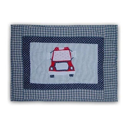 Patch Magic - Fire Truck Crib Toss Pillow - 16 in. W x 12 in. LHandmade, Hand quilted Crib Toss Pillow made from 100% Cotton. Machine washable, but for best care hand wash in cold water. Do not machine dry. Do not dry clean.