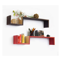 Blancho Bedding - [The Exoticism] S-Shaped Leather Wall Shelf / Floating Shelf (Set of 2) - These beautifully crafted S Shaped Wall Shelves display the art of woodworking and add a refreshing element to your home. Versatile in design, these leather wall shelves come in various colors and patterns. They spice up your home's decor, and create a multifunctional storage unit for all around your home. These elegant pieces of wall decor can be used for various purposes. It is ideal for displaying keepsakes, books, CDs, photo frames and so much more. Install as shown or you may separate the shelves to create a layout that suits your taste and your style. Each box serves as a practical shelf, as well as a great wall decoration. Each measures approx. 31.9(W) x 5.9 (H) x 5.9(D) inches, Thick: 0.6 inches.