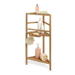 "36"" Three-Tier Teak Corner Bath Shelf - This Corner Teak Bath Shelf allows you to store bath essentials like soaps and shower gels right where you need them, thanks to its freestanding corner design."