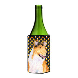 Caroline's Treasures - Collie Smooth Candy Corn Halloween Portrait Wine Bottle Koozie Hugger - Collie Smooth Candy Corn Halloween Portrait Wine Bottle Koozie Hugger Fits 750 ml. wine or other beverage bottles. Fits 24 oz. cans or pint bottles. Great collapsible koozie for large cans of beer, Energy Drinks or large Iced Tea beverages. Great to keep track of your beverage and add a bit of flair to a gathering. Wash the hugger in your washing machine. Design will not come off.
