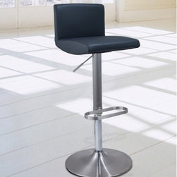 Montague Modern Barstool - This stool is a perfect marriage of style and comfort, with a cushion and back rest upholstered with synthetic leather available in an assortment of colors.  A brushed stainless steel base provides the foundation for this piece, complete with a hydraulic seat height adjustment.  A must have to pull your room together!