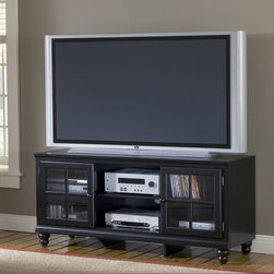 Hillsdale Furniture - Hillsdale Grand Bay 48 Inch Entertainment Console In Black - Transitionally designed to blend easily into both contemporary and traditional decor  the Grand Bay entertainment console is available in two finishes to fit your needs. The smooth satin finish is available in either black or white for added versatility across many decor styles. It is constructed of solid wood with veneer and the back features knockouts for easy cable management. The console offers two glass front cabinets with adjustable shelves for storing your electronics  game systems  DVDs and CDs.