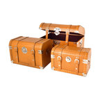 """Traders and Company - Faux Crocodile Skin Round-Top Steamer Trunks, Set of 3 - Lg = 19.75""""Lx13""""Wx13""""H - European-inspired faux crocodile skin trunks, trays, boxes and carry-alls. Reminiscient of early 20th century railway fashion; bright and classic looking pieces warm and enliven a space while providing functional storage and stylish display. Alternate shapes & styles sold separately. Dimensions: Lg = 19.75""""Lx13""""Wx13""""H, Md = 17""""Lx11""""Wx11""""H, Sm = 14.25""""Lx8.5""""Wx9.25""""H"""
