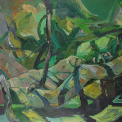 Lost Art Salon - Late 20th C. Original Abstracted Forest Landscape with Figure by Anna Poole - You'll make a dynamic statement with this oil-on-canvas painting. Influenced by her Bay Area environment, the late San Francisco-based artist Anna Poole captured the primal power of the forest in this striking abstract.