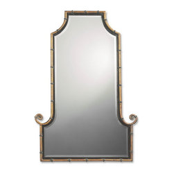 Uttermost - Uttermost 10770 B  Himalaya Iron Bamboo Mirror - This flat top, arch mirror is framed by an antiqued gold iron rod with matte black inner lip. black iron bands accent the frame. mirror is beveled.