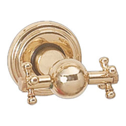 Renovators Supply - Robe Hooks Bright Brass Double Robe Hook - Robe Hooks: A unique and distinctive bath accessory to hang your robe or towel, this hook sports cross handles on each side. Features a polished and lacquered brass finish.