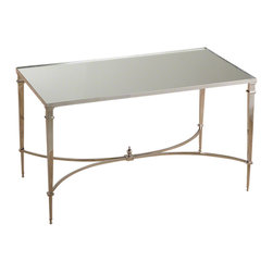 Global Views - French Square Leg Table - Nickel & Mirror - Small scale, square leg cocktail brass table with granite top or nickel table with mirror top.