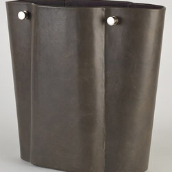 Studio A - Studio A 7.90126 Serpentine Grey Traditional Wastebasket - Antiqued soft leather exterior with satin silver hardware.