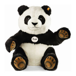 Steiff - Steiff Pummy Panda Bear - Steiff Pummy Panda is made of cuddly soft black and white woven plush. Machine washable. Ages 3 and up. Handmade by Steiff of Germany.
