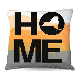 "DiaNoche Designs - ""Home"" New York, Pillow, Orange, Woven Poplin, 20""x20"" - Toss this decorative pillow on any bed, sofa or chair, and add personality to your chic and stylish decor. Lay your head against your new art and relax! Made of woven Poly-Poplin.  Includes a cushy supportive pillow insert, zipped inside. Dye Sublimation printing adheres the ink to the material for long life and durability. Double Sided Print, Machine Washable, Product may vary slightly from image."