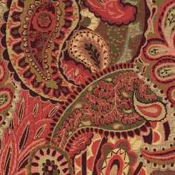 Burgundy, Green and Red, Abstract Paisley Contemporary Upholstery Fabric By The - This contemporary upholstery jacquard fabric is great for all indoor uses. This material is uniquely designed and durable. If you want your furniture to be vibrant, this is the perfect fabric!