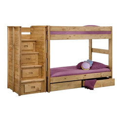 Chelsea Home - Twin Over Twin Bunk Bed with Staircase - NOTE: ivgStores DOES NOT offer assembly on loft beds or bunk beds.. Includes slat packs, four step staircase with drawers and two storage drawers. Mattresses not included. Rustic style. Metal brackets are used to connect the rails to the headboard and footboard. Rails with 1.25 in. cleat which is glued and screwed to the rail for extra strength to support the mattress foundation. Drawer is mounted on a rolling metal glide for easy opening and closing. Exceed all safety standards of the consumer product safety commission. Constructed for strength and durability. Can hold up to 400 lbs. of distributed weight. Warranty: One year. Made from solid pine wood. Ginger stain finish. Made in USA. Assembly required. Distance between top and bottom bunk is 35 in.. Drawer: 12 in. W x 12 in. D x 4.5 in. H. Overall: 107 in. L x 41 in. W x 62 in. H (360 lbs.). Bunk Bed Warning. Please read before purchase.Warning: Falling hazard, bunk beds should be used by children 6 years of age and older!