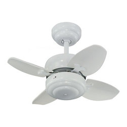 """Monte Carlo Fans - Compact 20-Inch Ceiling Fan with Four Blades - 4MC20WH - This small, compact ceiling fan is perfect for creating airflow in those small bedrooms, bathrooms, and hallways. There are two ways to hang this fan; with the downrod or by hugger flushmount style. The hanging height by downrod is 12-1/32""""-inches. The hanging height by flushmount is 7-3/4-inches which is a great choice for applications where a low-profile ceiling fan is needed. The blade pitch is 12�. Light kits are available. Dry location rated."""