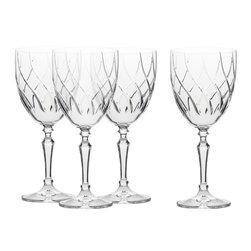 Martinka Crystalware & Lifestyle - Fuego Vino Glasses, Red Wine Glasses (Set of 4) - Two  fundamental raw ingredients of glass works have always boiled down to a combination fire and sand, and these wisely crafted red wine glasses exhibit a whimsical design reminiscent of both. Whether you see an illusion of dancing flames or the fleeting ripples of the Saharan Desert sand, this crystal wine glass tells a story of the beginning, while embracing contemporary flare with its chic undulating design.