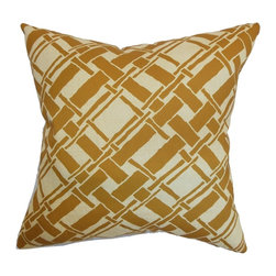 """The Pillow Collection - Rygge Bamboo Pillow Goldenrod 20"""" x 20"""" - Bring in tranquility and comfort to your home by styling it with this plush throw pillow. This square pillow is a functional decor piece which is ideal for your living room, bedroom or anywhere inside your house. This accent pillow features a bamboo print pattern in shades of gold and tan. This 20"""" pillow blends well with solids and other patterns like stripes, plaid and ikats. Crafted from 100% high-quality cotton material. Hidden zipper closure for easy cover removal.  Knife edge finish on all four sides.  Reversible pillow with the same fabric on the back side.  Spot cleaning suggested."""