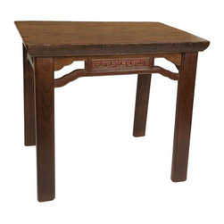 "Used Teili Wooden Kitchen Table - A rectangular wooden table. This table is great for the kitchen or for extra counter space. The top is a solid 2-1/2"" thick piece of teili wood. The table's elegant, understated design features minimal ornamentation, with only subtle carving and ornamentation on the sides, giving the piece flexibility when it comes to tying it in with any decor style."