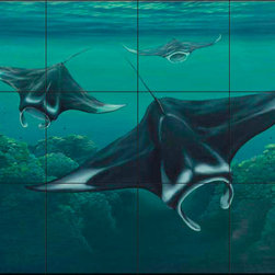 The Tile Mural Store (USA) - Tile Mural - Sh - Brake - Kitchen Backsplash Ideas - This beautiful artwork by Setsuo Hamanaka has been digitally reproduced for tiles and depicts a closeup of some rays  Our tiles with sea turtles are a great way to add something unique to your kitchen backsplash tile project. Make your tub and shower surround bathroom tile project exceptional with one of our decorative tile murals of sea turtles. Decorative tiles with turtles are beautiful and timeless and will never go out of style. Make a seaturtle tile mural part of your bathroom wall tile and enjoy this tile mural every day in your newly renovated bathroom.