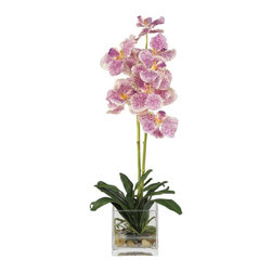 Vanda with Glass Vase Silk Flower Arrangement - Treasure the beauty of these rare exotic Vanda orchids. Two slender stems filled with brightly speckled blossoms make this duo a treat to behold. Nestled in a bed of rich green leaves, these lovely flowers will provide you with years of care free pleasure. A square glass vase coupled with artificial water and river rock adds a handsome touch to this breathtaking arrangement. Height= 21 in x Width= 8 in x Depth= 6.5 in