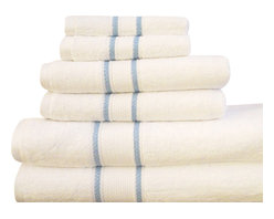 """Casa-Platino - 100% Egyptian Cotton Assorted Towels, White, Set of 6 - Two bath towels 28"""" x54"""""""