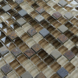 Home Elements - Stone Glass Mosaic Tile kitchen backsplash bathroom wall - Product Description:Item#: STG0130Collection: Stone Glass MosaicColor: Color Blend(Brown and Crystal Yellow)Surface Finish: StoneShape: SquareChip Size: 3/5x3/5In.(15mm x 15mm)Thickness: 5/16 In. (8mm)Each sheet of this tile is approximately 1 sq ft per sheet and is mesh mounted on high quality fiber glass for easy installation of your mosaic tile projects.Application: Stone Glass Mosaic are impervious to the water, thus it is great for both interior and exterior use so moisture is not an issue. Stone Glass Mosaic are great on floors and walls and have been most popular in bathrooms, spas, kitchen backsplash, wall facades and pools as well as a variety of other applications.Characteristics: Stone Glass Mosaic has a zero water absorption rate, and this tile exceeds ANSI standards for water absorption for mosaic tile. It is strong, durable, contamination free, and only the best quality tiles are selected as our tiles are inspected for blemishes before shipment.