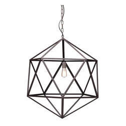 Zuo Modern - Zuo Modern Amethyst Large Ceiling Lamp in Rust - Large Ceiling Lamp in Rust belongs to Amethyst Collection by Zuo Modern Classic triangular forms create the beautiful symmetry of the Amethyst ceiling lamp. Constructed of sturdy steel in an industrial finish with an aged patina. One 40w bulb included. The lamp is UL approved. Lamp (1)