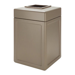 "Commercial Zone - 38 Gallon Square Waste Container - Maintenance made easy. Heavy-duty waste containers are designed to withstand the harshest environments. Features: -Large 38-gallon trash capacity, perfect for high traffic areas, uses 39-gallon trash bags. -Lift-off lid for easy trash removal. -Grab Bag system secures trash bag in place. -Includes 1 year warranty. -Overall Dimensions: 30"" H x 18.5"" W x 18.5"" D."