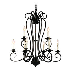 Trans Globe Lighting - Trans Globe Lighting 21059-1 ROB 1 Nine Light Garland Two Tier Open Candelabra C - An oil rubbed bronze finish combined with a candelabra base and Victorian style decorative ribbon iron work brings home a traditional style.