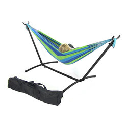 Sunnydaze Decor - Blue/Green Double Brazilian Hammock & Stand Combos, Ocean Breez - Install and move your hammock easily with a lightweight hammock stand.  This combination kit includes, a cotton weave hammock, a steel tube stand, and a carrying case for camping or traveling.