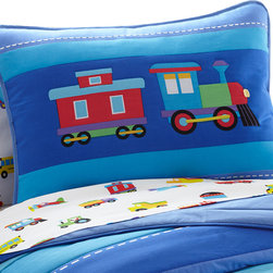 Wildkin - Olive Kids Trains, Planes, Trucks Sham - This pillow sham perfectly coordinates with all out Trains, Planes & Trucks bedding. It features two trains and has embroidered details.