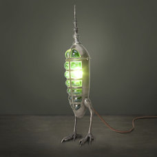 Eclectic Lighting Evan Chambers NIckel Plated Hawk Rocket Lamp with Green Glass