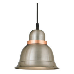 "THE APOLLO CORD-HUNG CEILING LIGHT - 8"" Apollo shown in 11-Satin Steel with 24-Satin Copper Ring Finish with BLO-CB8 Mounting"