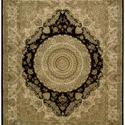 Nourison - Nourison Nourison 2000 Black Area Rug - Redefine luxury with Nourisons most popular hand-made signature collection featuring Persian and Contemporary traditional designs. The dense pile splendid patterns deeply compelling textures and intriguing aesthetics are certain to command immediate attention in any setting. Style and sophistication will be projected with this opulent versatile and appealing collection of fine rugs that are available in a wide variety of shapes and sizes including ovals rounds and octagons. In a design that might have once graced a Contemporary palace a bold center medallion is given dramatic emphasis by its diamond-shaped black setting. The richly detailed golden ground adds to the regal effect of this spectacular rug.