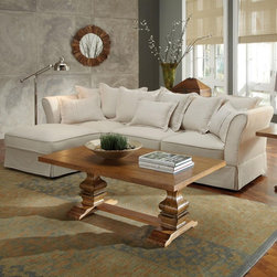 Coaster Karlee Cottage Styled Three Seat Sectional 500910 - A three seat piece with soft cushions and a small chaise ottoman, this sectional sofa will complement homes that seek cozy comfort with a relaxed look.