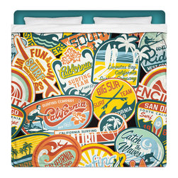 """Eco Friendly """"California Surf Vintage Stickers"""" King Size Sheet Set - Our """"California Surf Vintage Stickers"""" King Size Surf Sheet Set is made of a lightweight microfiber for the ultimate experience in softness~ extremely breathable!"""