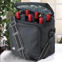 Weekend Wine Bag - Toasting on trips is easy! This is the wine tote that really packs it in. Carry up to 6 bottles of wine or champagne wherever you go. Keep bottles cool with included chiller pack. There's also a two-way lock ready zipper carry handles and an adjustable shoulder strap. Insulated durable black nylon. Six adjustable bottle pouches. Ice pack included. Holds up to 6 standard size wine bottles. Can hold up to 3 magnum size bottles with 3 standard size bottles. Wine Bag can not hold more than 3 magnum size bottles at one time.