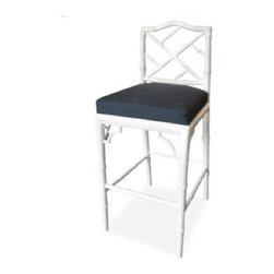 Chippendale Bar Stool - For a dash of Palm Beach, you can't go wrong with a faux bamboo design like this Chippendale stool. The seats would be fun to customize in a bold print.