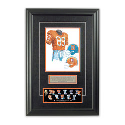 "Heritage Sports Art - Original art of the NFL 1968 Denver Broncos uniform - This beautifully framed piece features an original piece of watercolor artwork glass-framed in an attractive two inch wide black resin frame with a double mat. The outer dimensions of the framed piece are approximately 17"" wide x 24.5"" high, although the exact size will vary according to the size of the original piece of art. At the core of the framed piece is the actual piece of original artwork as painted by the artist on textured 100% rag, water-marked watercolor paper. In many cases the original artwork has handwritten notes in pencil from the artist. Simply put, this is beautiful, one-of-a-kind artwork. The outer mat is a rich textured black acid-free mat with a decorative inset white v-groove, while the inner mat is a complimentary colored acid-free mat reflecting one of the team's primary colors. The image of this framed piece shows the mat color that we use (Orange). Beneath the artwork is a silver plate with black text describing the original artwork. The text for this piece will read: This original, one-of-a-kind watercolor painting of the 1968 Denver Broncos uniform is the original artwork that was used in the creation of this Denver Broncos uniform evolution print and tens of thousands of other Denver Broncos products that have been sold across North America. This original piece of art was painted by artist Nola McConnan for Maple Leaf Productions Ltd. Beneath the silver plate is a 3"" x 9"" reproduction of a well known, best-selling print that celebrates the history of the team. The print beautifully illustrates the chronological evolution of the team's uniform and shows you how the original art was used in the creation of this print. If you look closely, you will see that the print features the actual artwork being offered for sale. The piece is framed with an extremely high quality framing glass. We have used this glass style for many years with excellent results. We package every piece very carefully in a double layer of bubble wrap and a rigid double-wall cardboard package to avoid breakage at any point during the shipping process, but if damage does occur, we will gladly repair, replace or refund. Please note that all of our products come with a 90 day 100% satisfaction guarantee. Each framed piece also comes with a two page letter signed by Scott Sillcox describing the history behind the art. If there was an extra-special story about your piece of art, that story will be included in the letter. When you receive your framed piece, you should find the letter lightly attached to the front of the framed piece. If you have any questions, at any time, about the actual artwork or about any of the artist's handwritten notes on the artwork, I would love to tell you about them. After placing your order, please click the ""Contact Seller"" button to message me and I will tell you everything I can about your original piece of art. The artists and I spent well over ten years of our lives creating these pieces of original artwork, and in many cases there are stories I can tell you about your actual piece of artwork that might add an extra element of interest in your one-of-a-kind purchase."
